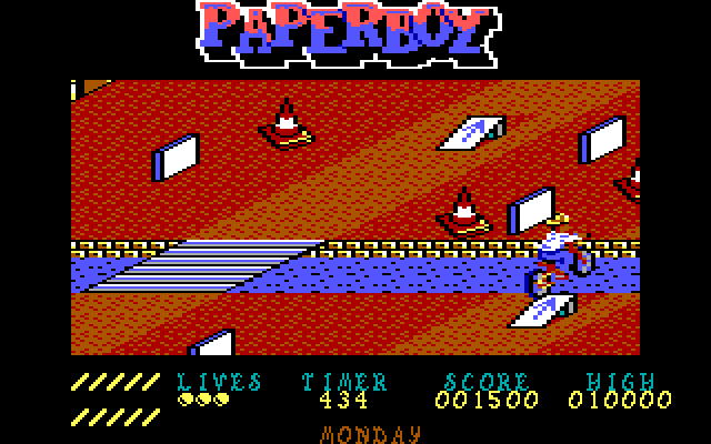 Paperboy IBM PC/Compatibles Screenshot: Oops, I fell in the river...