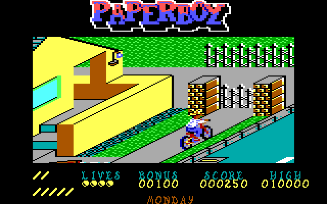 Paperboy IBM PC/Compatibles Screenshot: Don't crash into this fence!
