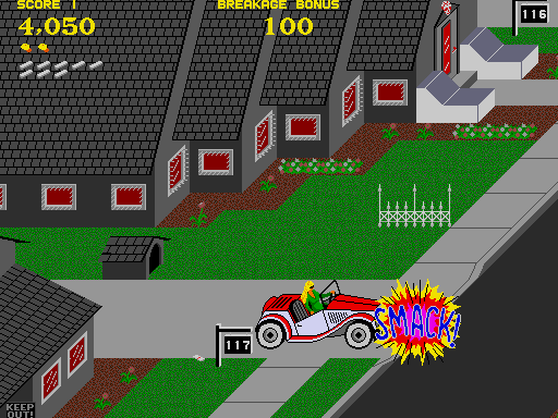 Paperboy Arcade Screenshot: Smack! I was hit by a car.