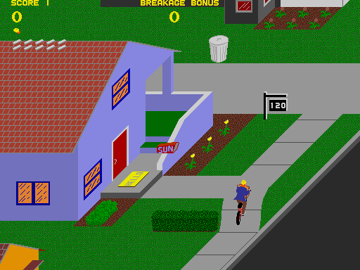 Paperboy Arcade Screenshot: Here's another customer, try to throw a paper in the mailbox.