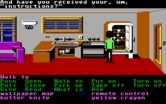 Zak McKracken and the Alien Mindbenders for IBM PC/Compatibles - Picking up some items in the kitchen while the T.V. is on in the background.
