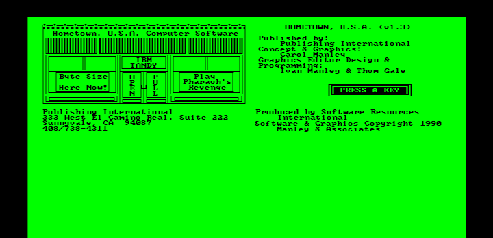 Hometown, U.S.A. IBM PC/Compatibles Screenshot: Title screen.