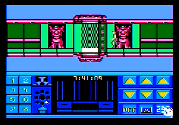 Impossible Mission II Apple II Screenshot: The path to the next tower is blocked.