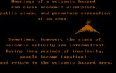 Volcanoes for IBM PC/Compatibles - About volcanic erruption warnings.