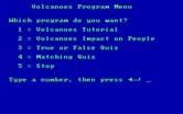 Volcanoes for IBM PC/Compatibles - The main menu.
