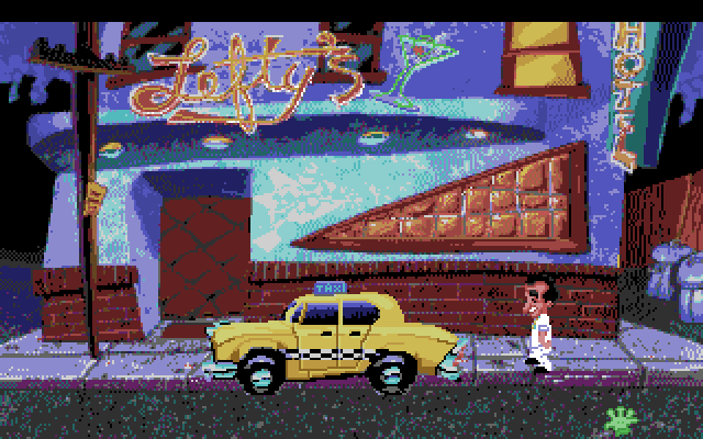 Leisure Suit Larry 1: In the Land of the Lounge Lizards Amiga Screenshot: Hail a cab to visit other locations...