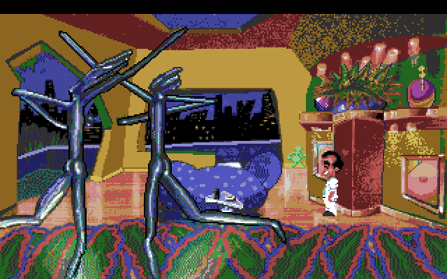 Leisure Suit Larry 1: In the Land of the Lounge Lizards Amiga Screenshot: Entrance to the penthouse.