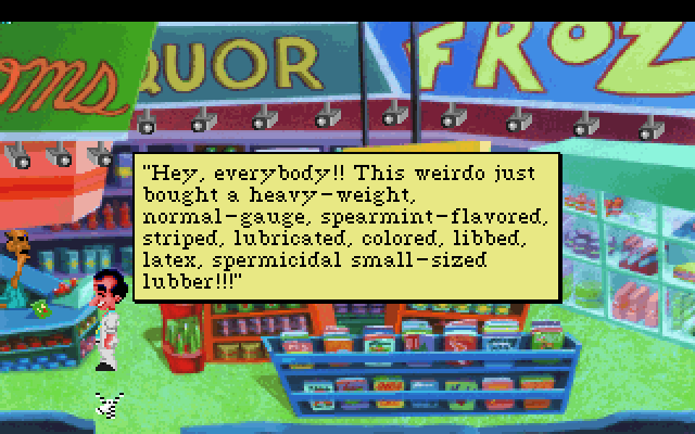 Leisure Suit Larry 1: In the Land of the Lounge Lizards IBM PC/Compatibles Screenshot: The store clerk doesn't help you out much...