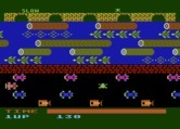 Frogger for Atari 8-bit screenshot thumbnail - Frogger crossing the road...