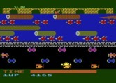 Frogger for Atari 8-bit - Hit by a car!