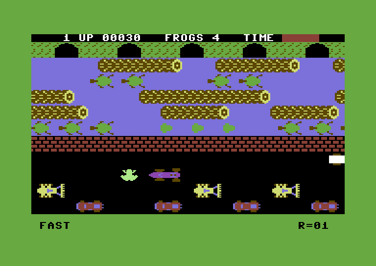 Frogger Commodore 64 Screenshot: Frogger crossing the road...