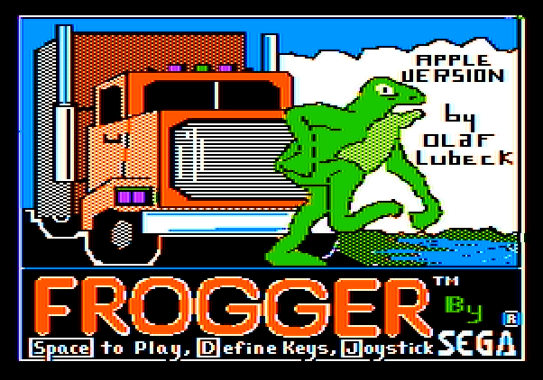 Frogger Apple II Screenshot: Title screen.