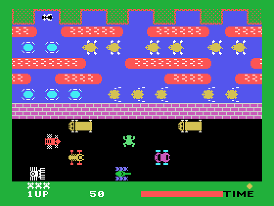 Frogger TI-99/4A Screenshot: Frogger crossing the road...