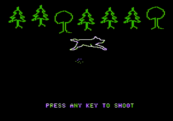 Adventure Quest IV Apple II Screenshot: Wagons West - Defend yourself from wild animals.
