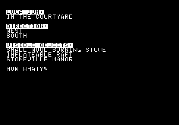 Adventure Quest IV Apple II Screenshot: Stoneville Manor - Found some objects, are they useful?