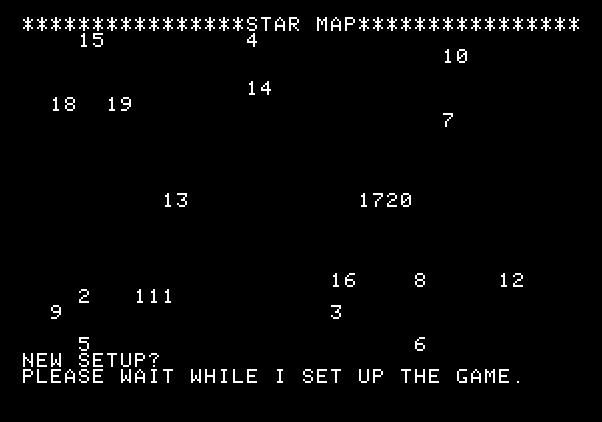 Adventure Quest IV Apple II Screenshot: Galactic Empires - The computer sets up the game board.