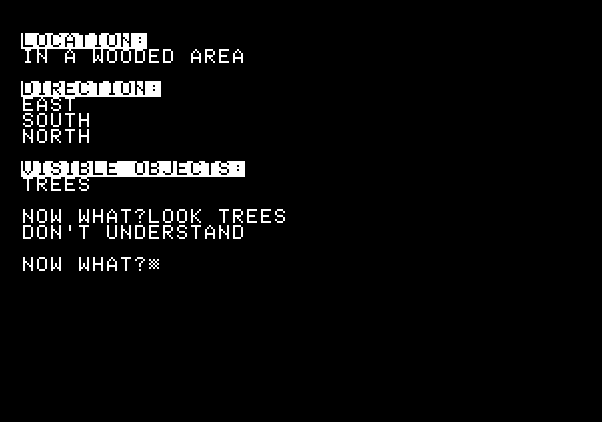 Adventure Quest IV Apple II Screenshot: Stoneville Manor - The parser is somewhat (very) limited...
