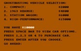 Ghostbusters for IBM PC/Compatibles - Which vehicle would you like to purchase?