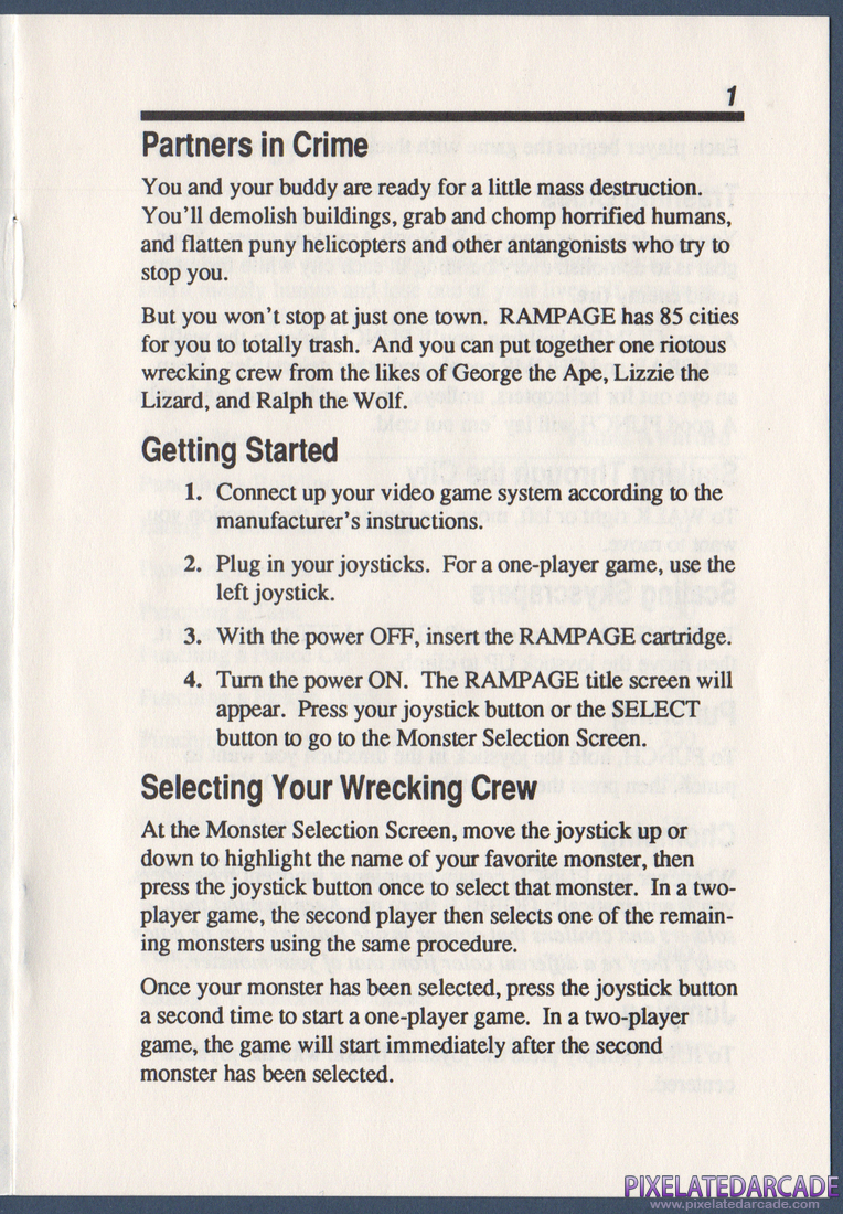 Rampage: Instruction Manual - Page 1