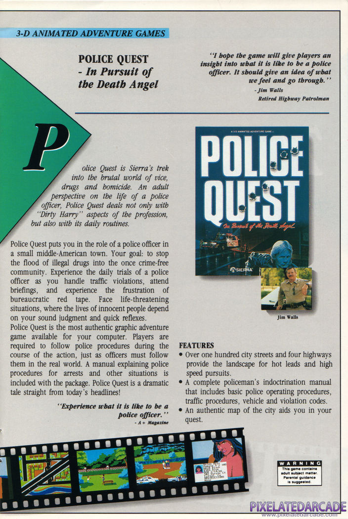 Police Quest: In Pursuit of the Death Angel Advertisement: Sierra 1988 product catalog