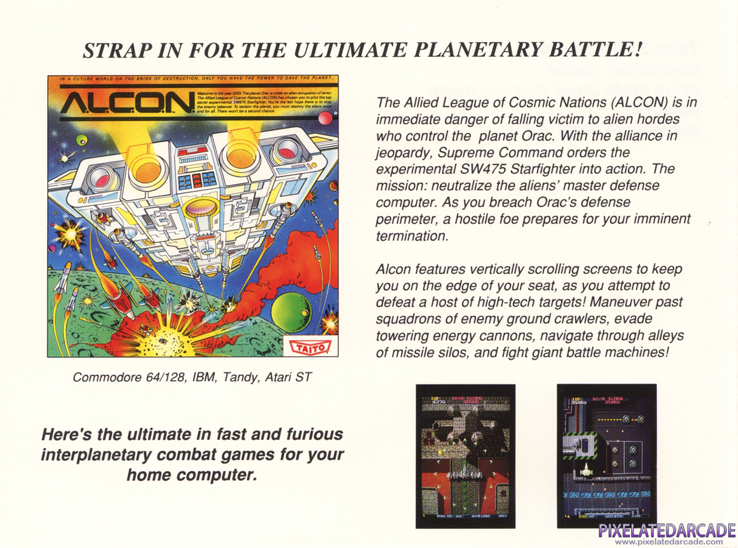 A.L.C.O.N. Advertisement: Taito 1988 product catalog
