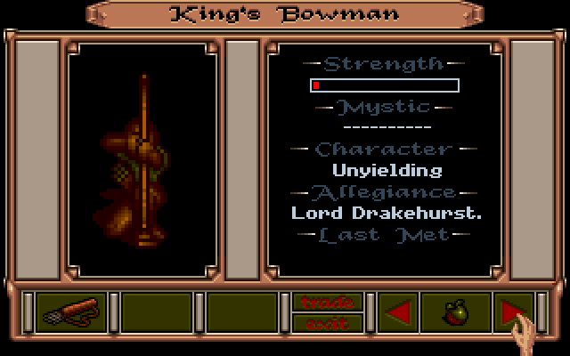 Obitus Amiga Screenshot: Some info on the king's bowman...