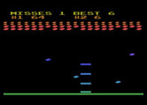 Avalanche for Atari 8-bit - The game gets faster, and I have fewer paddles now.