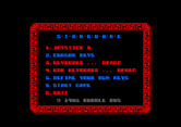 Starquake for Amstrad CPC - Game options.