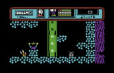 Starquake for Commodore 64 - This tube will lift me up to the next screen.
