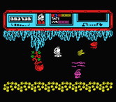 Starquake for MSX - Using a device to fly through this screen...
